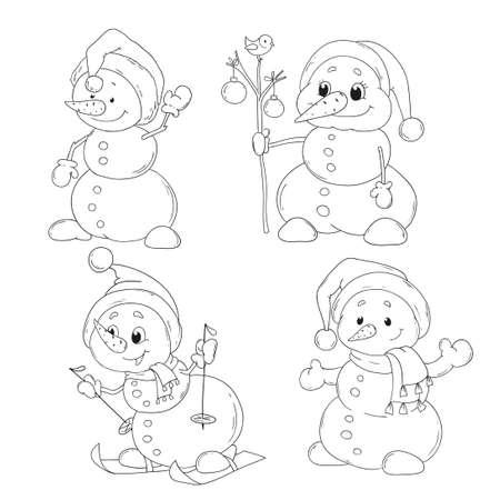 Personaje Lindo Del Vector Del Muñeco De Nieve. Feliz Navidad. Año ...