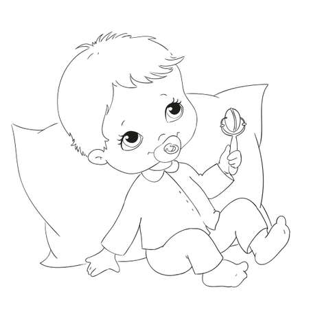 baby sitting: Cute character baby on a pillow. Vector coloring book. Doodle illustration.