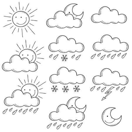 contour: Set weather icons. Doodle vector illustration  contour
