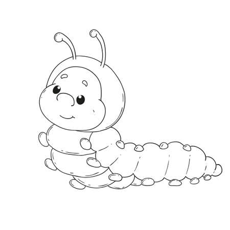 crawling creature: Cartoon character caterpillar. Cheerful worm for coloring book vector