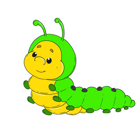 Cartoon character caterpillar. Cheerful worm vector illustration