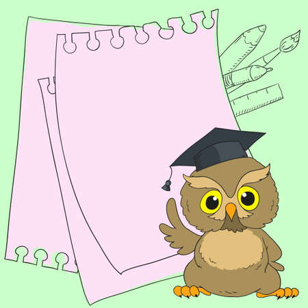 smart card: Smart owl cute character. Card with space for text. Vector doodle illustration