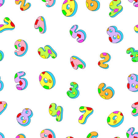 sew tags: Seamless pattern numbers. Colored numbers on a white background vector illustration.