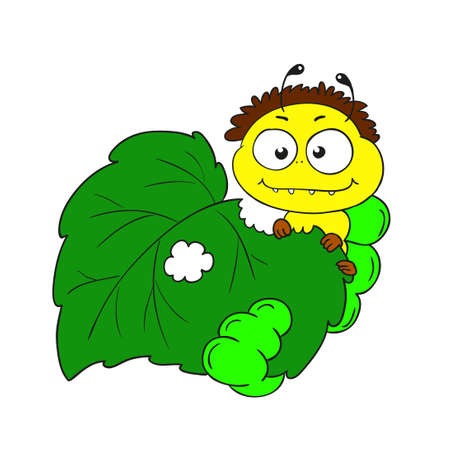 chewing: Funny caterpillar chewing leaves. Cheerful caterpillar character vector