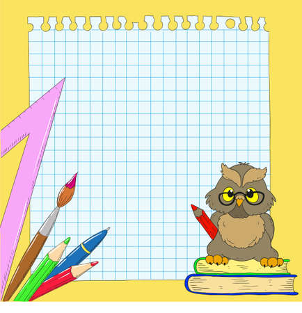 Background school. Owl, notes, books, pencils. Space for text.