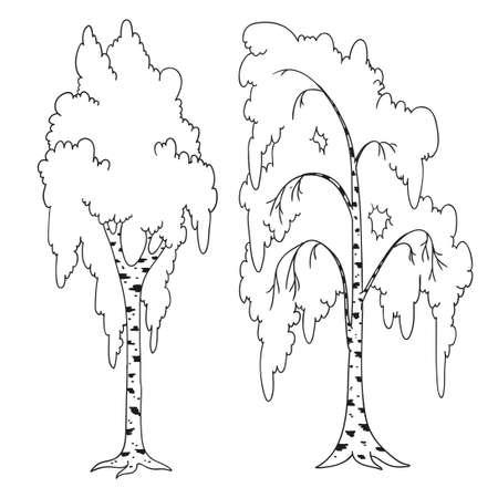 Libro Para Colorear árbol. Circuito De árbol De Dibujos Animados ...