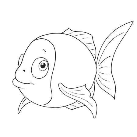만화 문자 재미 물고기입니다. 귀여운 물고기 벡터 색칠 공부