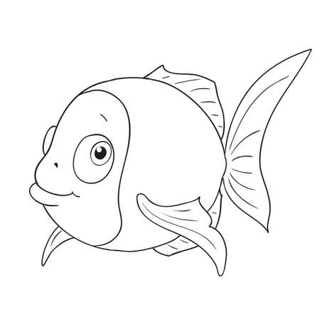 Cartoon character funny fish. Cute fish vector Coloring book
