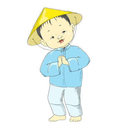 national costume: Chinese boy. Kid in national costume. Vector