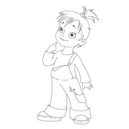 hooligan: Cartoon character girl. Funny girl hooligan for coloring book.