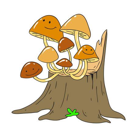 Honey fungus on a tree stump. Mycelium. Vector Mushroom character.