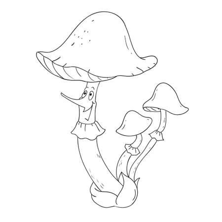 toadstool: Cheerful mushroom toadstool. Vector Mushroom character Coloring book