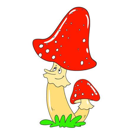 Enthousiaste toadstool de champignons. caractère vecteur champignon isolé