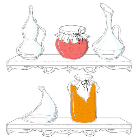 confiture: Jam on the shelf. Kitchen interior. Dishes, jars, glass. Vector.