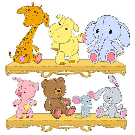 stuffed: Childrens toys on the shelf. Giraffe, hippopotamus, elephant, pig, hedgehog, hare, bear. Plush animals vector Illustration