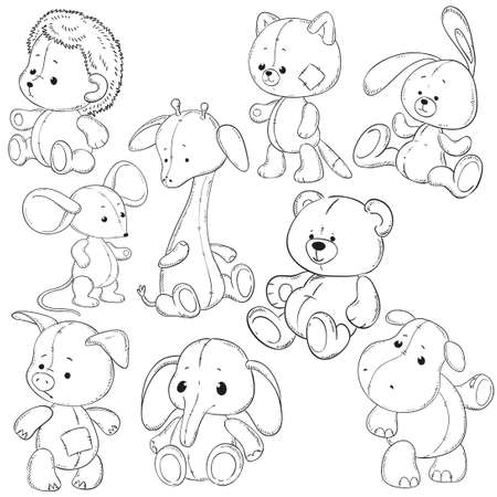 stuffed: A collection of stuffed animals. Soft toys coloring books vector