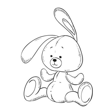 Toy Bunny Coloring Book. Vector Isolated. Contour Illustration ...