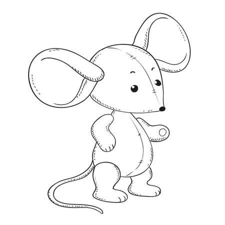 Ratón De Felpa Para Dar Color. Vector Aislado. Ilustración De ...