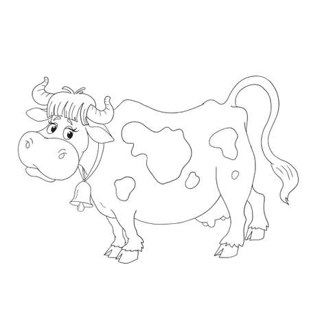 udders: Cartoon cow character. Coloring book vector isolated.