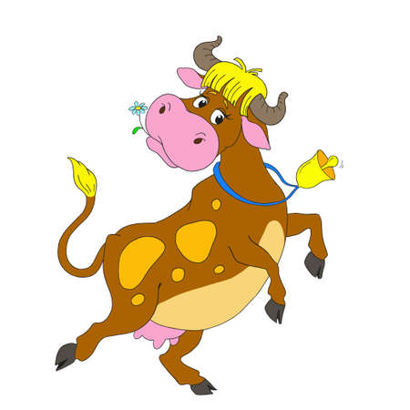 bossy: Cartoon characters dancing cow. Funny cow with a bell. Vector isolated on white background.