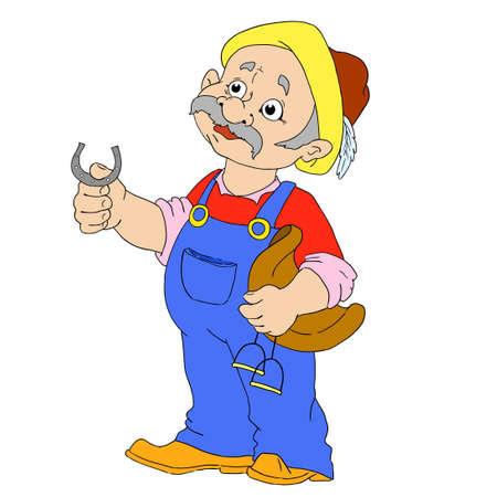 stirrup: Groom cartoon characters. Farmer man vector isolated.