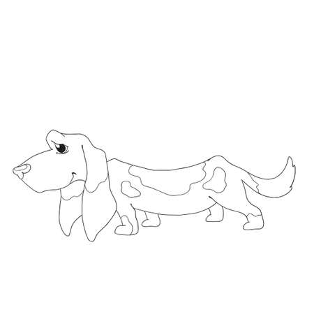 hound: Cute dog character. Cartoon basset hound dog for coloring book
