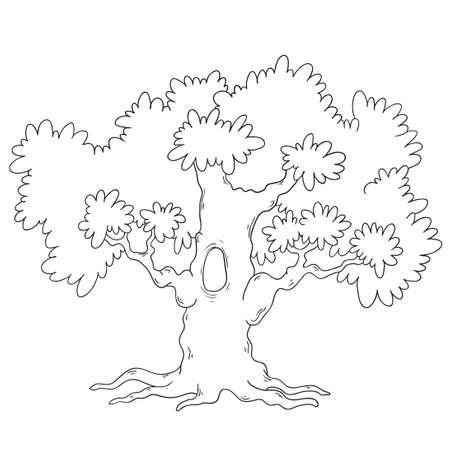 Libro Para Colorear árbol Circuito De árbol De Dibujos Animados Vector Aislado