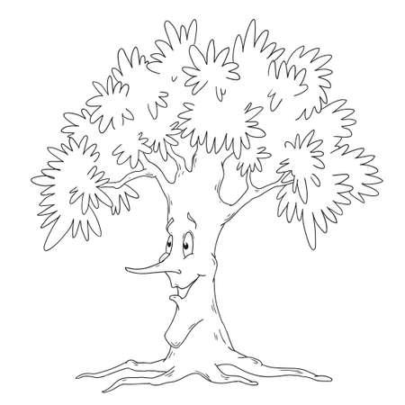 Libro Para Colorear árbol. Vector De árbol De Hoja Caduca Aislado En ...