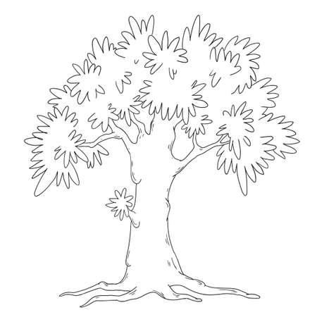 RBol De Carácter Divertido. Libro De Colorear. Vector De árbol De ...