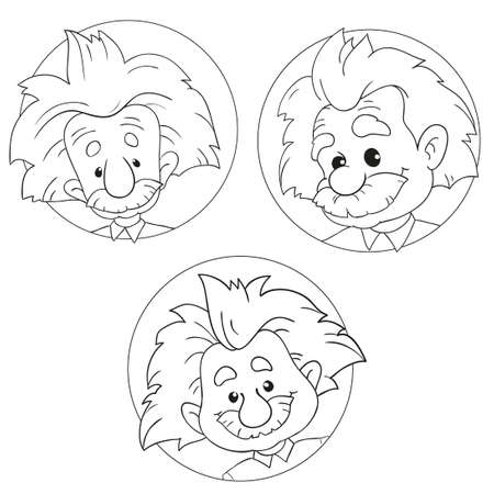 physicist: JANUARY 20, 2017: A vector illustration of a collection of portraits of Albert Einstein. Cartoon portrait isolated, vector editorial. Einstein, scientist, professor, genius, mathematician, physicist Illustration