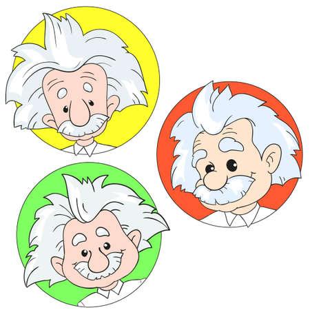 1 월 20 일, 2017 : 알 버트 아인슈타인의 초상화 집합의 벡터 일러스트 레이 션. 만화 초상화 절연, 사설. 아인슈타인, 과학자, 교수, 천재, 수학자, 물리학