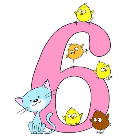 Nummer sechs. Datum für Glückwünsche. Vögel und Tiere mit Zahlen. Nettes Kätzchen und Hühner. Vektor auf weißem Hintergrund. Karikaturgekritzel.