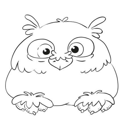 Búho Divertido Personaje De Dibujos Animados. Búho Con Volantes ...