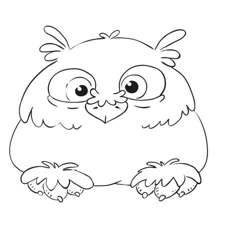Funny cartoon character owl. Vector isolated coloring book. Contour on a white background.