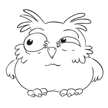 Búho Divertido Personaje De Dibujos Animados. Búho Sorprendido Con ...