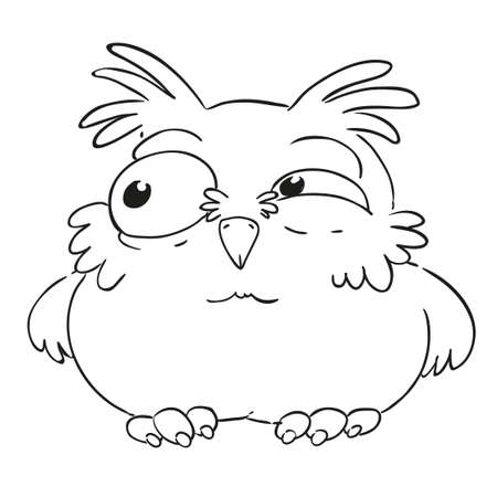 Funny cartoon character owl. Ruffled owl. Vector isolated coloring book. Contour on a white background. Ilustração
