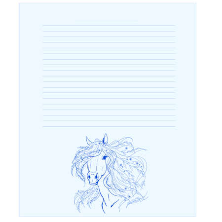 Diary page template. Notepad page. A horse with flowers in the mane. Diary page. Drawing a horse.