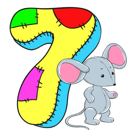 Number 7 with mouse icon cartoon design