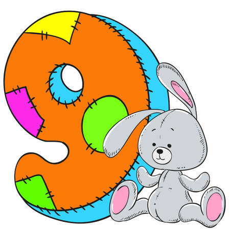Number 9 with rabbit icon cartoon design