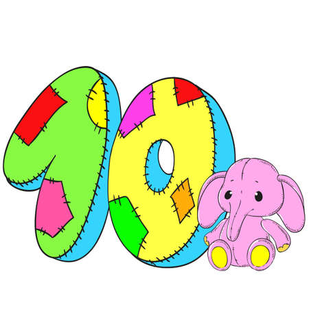 Number 10 with elephant icon cartoon design Ilustração