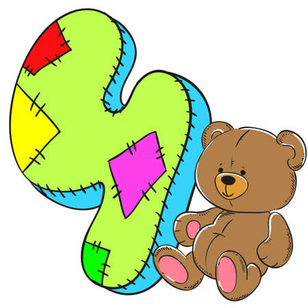Number 4 with bear icon cartoon design