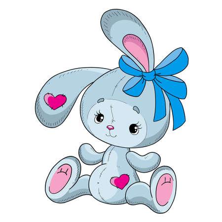 귀여운 만화 토끼입니다. 벡터 문자 토끼 테 디. 흰색 배경에 고립. 일러스트