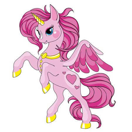 Fairy tale character horse. Cartoon unicorn. Pink unicorn with long mane. Vector isolated on white background. Character is fabulous.