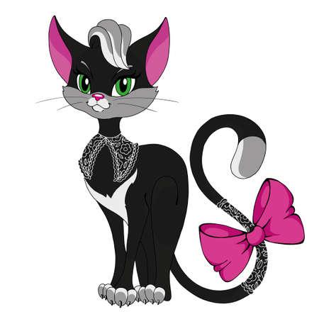 고양이 아가씨. 만화 문자 키티입니다. 핑크 나비와 벡터 격리 된 고양이입니다. 귀여운 고양이 캐릭터