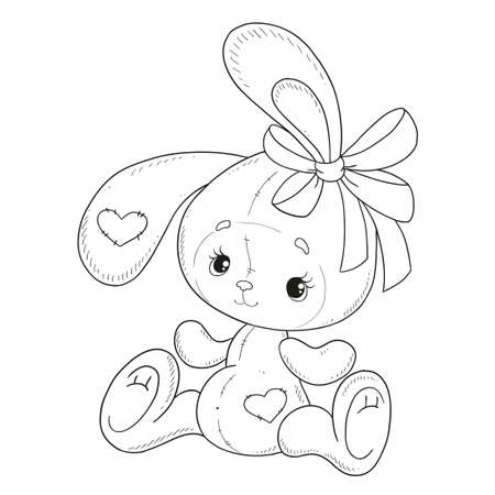 Coloring book vector. Bunny with a bow. Teddy Hare. Contour on a white background. Hand drawing.