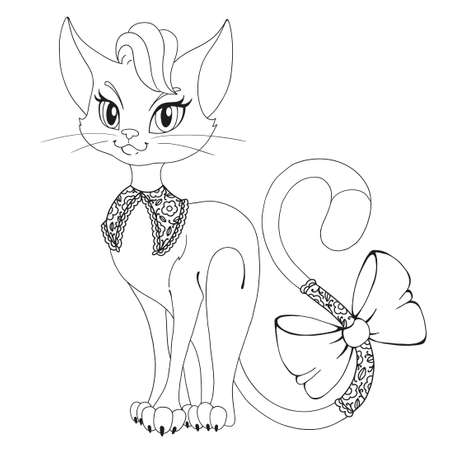 Coloring book page. A beautiful cat. Cat with a bow. Contour drawing. Vector illustration isolated on white background.