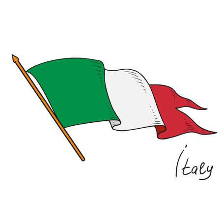 이탈리아의 국기. 이탈리아의 벡터 플래그입니다. 흰색 배경에 고립 된 개체입니다. 손을 그리기.