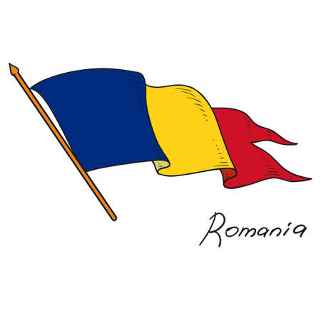 Vector flag of Romania. The national flag of Romania. Isolated object on white background. Hand drawing. Vector Doodle.