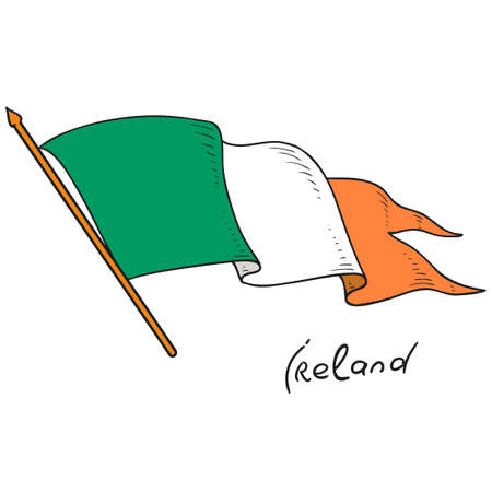 Vector flag of Ireland. National flag of Ireland. Isolated object on white background. Vector Doodle. The State of Ireland.