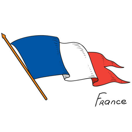Vector flag of France. National flag France. Isolated object on white background. Hand drawing. Vector Doodle. Ilustração